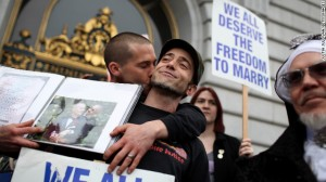 "The U.S. Supreme Court this month will begin considering several cases involving same-sex marriage, including one testing the constitutionality of California's Proposition 8, which says ""only marriage between a man and a woman is valid or recognized in California."" Above, Frank Capley-Alfano and Joe Capley-Alfano celebrate outside of San Francisco City Hall in February after a federal appeals court blocked the law. (Photo by Justin Sullivan/Getty Images)"