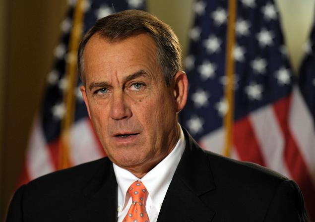 """In a Wednesday afternoon press conference that lasted under a minute, House Speaker John Boehner said President Obama should support his plan to avoid the fiscal cliff or """"be responsible for the largest tax increase in American history.""""Read more: http://www.nydailynews.com/news/politics/obama-grand-fiscal-cliff-deal-reach-article-1.1223691#ixzz2FdyVPgck"""