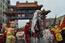 Lion dancers at Historic Chinatown Gate, Chinese New Year, Hing Hay Park, Seattle, Washington(February 3, 2011)