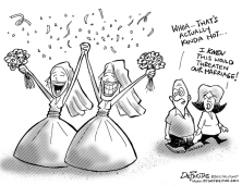 Lesbian wedding threatens to break up heterosexual marriage.