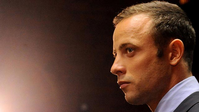 Olympic athlete, Oscar Pistorius , in court, Feb. 22, 2013, in Pretoria, South Africa, for his bail hearing charged with the shooting death of his girlfriend, Reeva Steenkamp. (AP Photo)