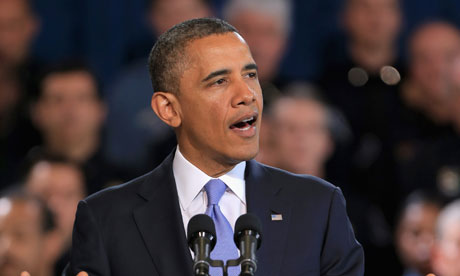 Barack Obama addresses gun control issues during a speech in Denver last week. Photograph: Doug Pensinger/Getty Images