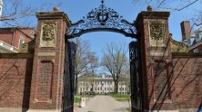 A general view of the gates of Harvard University on April 25, 2013 in Cambridge, Mass. College tuition has skyrocketed in recent years, leaving students with heavy debts. (Paul Marotta/Getty Images)