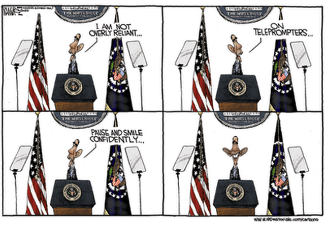 obama teleprompter cartoon