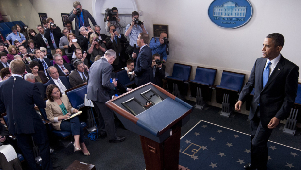 President Barack Obama arrives at a press conference in the Brady Press Briefing Room of the White House in Washington on April 30, 2013. (SAUL LOEB/AFP/Getty Images)