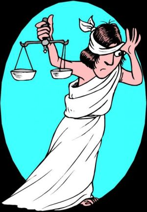 LADY JUSTICE TAKES A PEEK...AND SEES WHITE