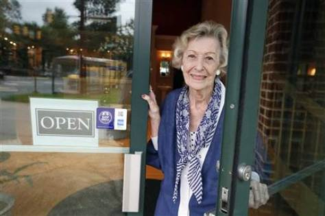 Alex Brandon / AP June Springer, who just turned 90, at Caffi Contracting Services where she works in Alexandria, Va.