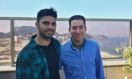 Glenn Greenwald (right) and his partner David Miranda, who was held by UK authorities at Heathrow aiport. Photograph: Glenn Greenwald