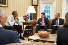 Pete Souza / The White House President Barack Obama receives an update on the Washington Naval Yard shootings investigation by FBI Director James Comey, center, and Attorney General Eric H. Holder Jr. in the Oval Office on Tuesday. Defense Secretary Chuck Hagel, far left, and Lisa Monaco, assistant to the president for homeland security and counterterrorism also attended.