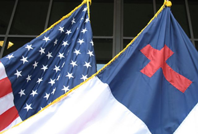 The American Flag and The Christian Flag