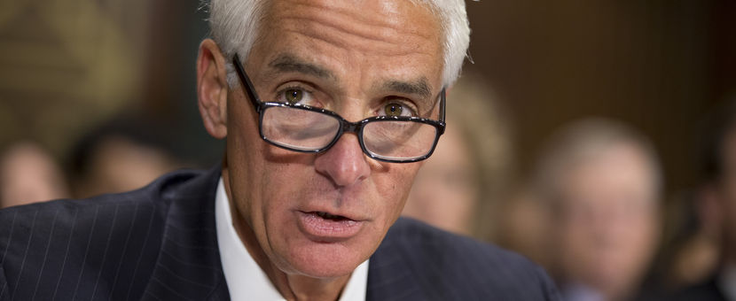 Former Florida Gov. Charlie Crist delivers a statement before the Senate Judiciary Committee, Nov. 1, 2013, on Capitol Hill in Washington. J. SCOTT APPLEWHITE/A