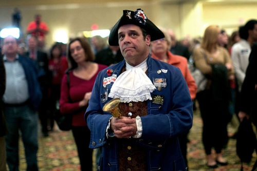 Tea Party member John Wallmeyer watches results from the Virginia Governor's race at an election night gathering of supporters of Republican candidate Ken Cuccinelli Nov. 5, 2013 in Richmond, Va.WIN MCNAMEE/GETTY