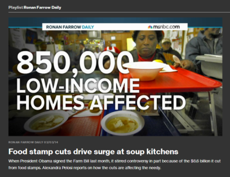 Food stamp cuts drive surge at soup kitchens""