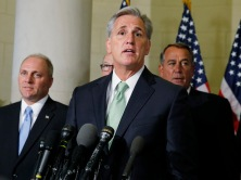 Newly elected House Majority Leader McCarthy speaks to the media on Capitol Hill in Washington