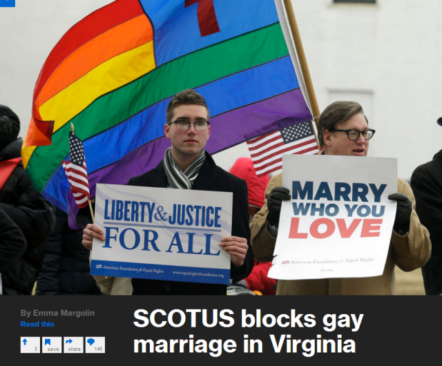 Spencer Geiger, left, of Virginia Beach, and Carl Johanson, of Norfolk, hold signs as they demonstrate outside Federal Court in Norfolk, Va. on Feb. 4, 2014 Steve Helber/AP