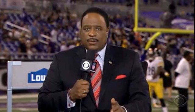 "CBS hosted a Thursday night football game last night between the Baltimore Ravens (Ray Rice's now former team) and the Pittsburgh Steelers. During the pre-game broadcast, CBS host James Brown delivered a powerful message for the men and women tuning in, calling for the ""comprehensive education of men of what healthy, respectful manhood is all about and it starts with how we view women."""