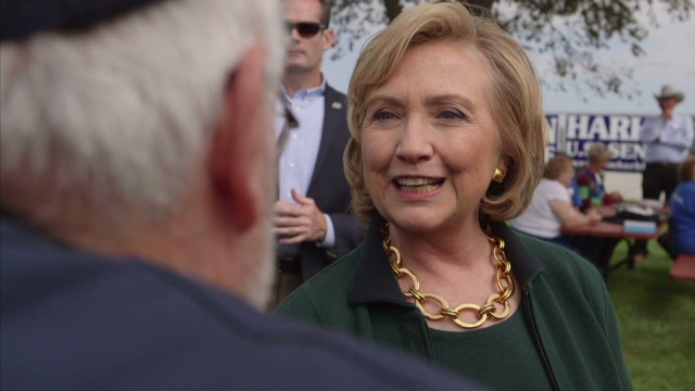 Hillary Clinton, shown at an event in Iowa this week, has been talking about economic equality in more political tones.