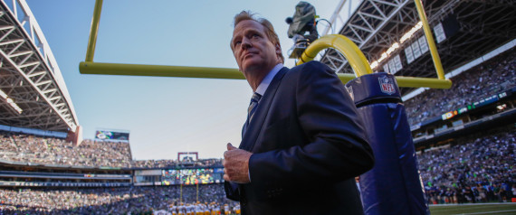 SEATTLE, WA - SEPTEMBER 04: NFL commissioner Roger Goodell walks the sidelines prior to the game between the Seattle Seahawks and the Green Bay Packers at CenturyLink Field on September 4, 2014 in Seattle, Washington. (Photo by Otto Greule Jr/Getty Images) | Otto Greule Jr via Getty Images