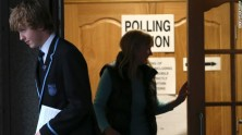 Voters leave after casting their ballots at Ritchie Hall in Strichen, Scotland, on September 18, 2014.