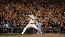 San Francisco Giants pitcher Madison Bumgarner throws during the eighth inning of Game 5 of baseball's World Series against the Kansas City Royals Sunday, Oct. 26, 2014, in San Francisco.  AP / DAVID J. PHILLIP