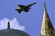 A U.S. Air Force F-16 warplane prepares to land at Incirlik Airbase in southern Turkey in November 2001. (TARIK TINAZAY/AFP/Getty Images)