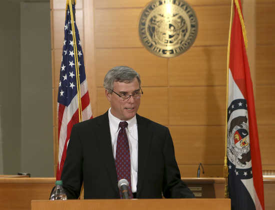 St. Louis County Prosecutor Bob McCulloch announces the grand jury's decision not to indict Ferguson police officer Darren Wilson in the August 9 shooting death on Michael Brown at the Buzz Westfall Justice Center in Clayton, Missouri, November 24, 2014