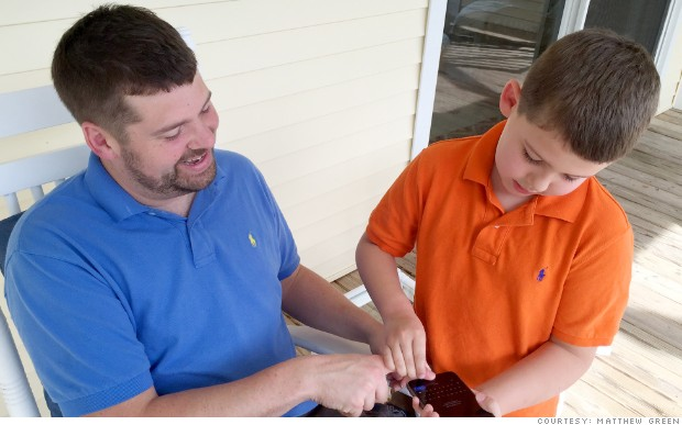 Matthew Green's iPhone was safely locked -- until his 7-year-old son Harrison figured out how to grab his dad's finger to unlock it.