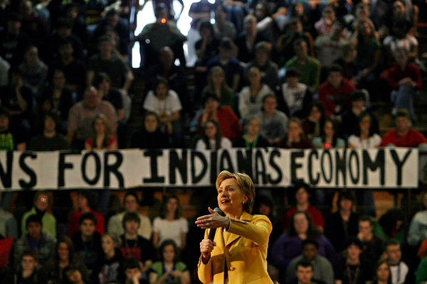 Hillary Rodham Clinton in Indiana in 2008. Her economic message in that campaign resonated with white, working-class voters. Credit Richard Perry/The New York Times