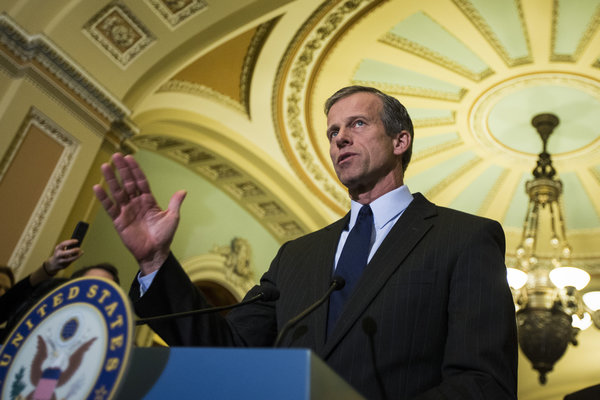 Senator John Thune, Republican of South Dakota, said that Democrats were lining up with President Obama in favor of the F.C.C. position on net neutrality. Credit Jabin Botsford/The New York Times