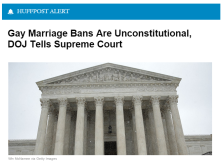 "WASHINGTON -- The Obama administration thinks the Supreme Court should rule that state bans on same-sex marriage are unconstitutional, according to a brief filed by Justice Department lawyers on Friday. The amicus brief urges the Supreme Court to rule that such bans are ""incompatible with the Constitution"" because they ""exclude a long-mistreated class of human beings from a legal and social status of tremendous import."" The court will hear oral arguments in the case of Obergefell v. Hodges in April."