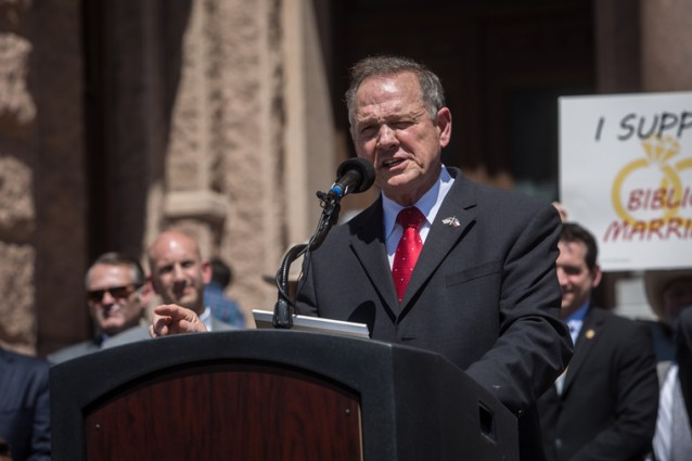 Alabama Supreme Court Chief Justice Roy Moore speaking at a rally against marriage equality in Austin, Texas.