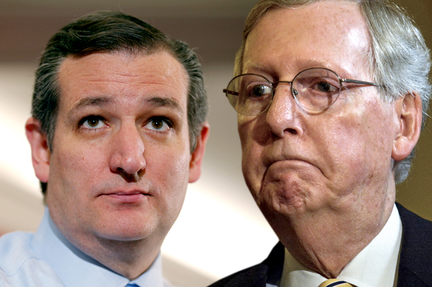 Ted Cruz, Mitch McConnell (Credit: Reuters/Brian Snyder/James Lawler Duggan/Photo montage by Salon)