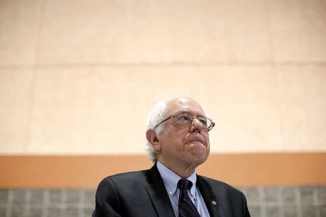 Potential Democratic presidential candidate Sen. Bernie Sanders (R) (I-VT) waits to deliver his remarks at the South Carolina Democratic Party state convention April 25, 2015 in Columbia, S.C. Photo by Win McNamee/Getty