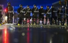 Police stand guard in Baltimore. (AP Photo/Matt Rourke)