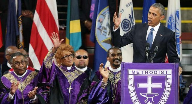 CHARLESTON, SC - JUNE 26:  U.S. President Barack Obama delivers the eulogy for South Carolina state senator and Rev. Clementa Pinckney during Pinckney's funeral service June 26, 2015 in Charleston, South Carolina. Suspected shooter Dylann Roof, 21, is accused of killing nine people on June 17th during a prayer meeting in the church, which is one of the nation's oldest black churches in Charleston.  (Photo by Joe Raedle/Getty Images)