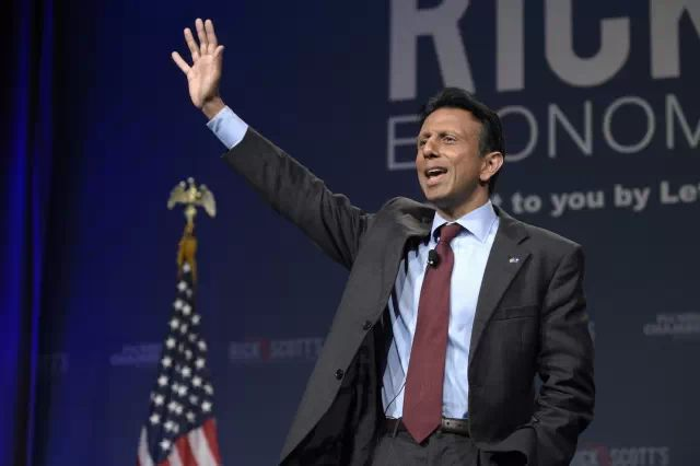 Louisiana Gov. Bobby Jindal waves while speaking during Rick Scott's Economic Growth Summit in Lake Buena Vista, Fla., Tuesday, June 2, 2015. (Phelan M. Ebenhack/AP)