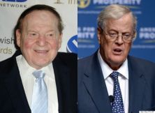 Casino mogul Sheldon Adelson (left) and billionaire industrialist David Koch (right) are both deeply committed to making sure a Republican wins the White House in 2016. (Adelson: Star Max/IPx Koch:AP)