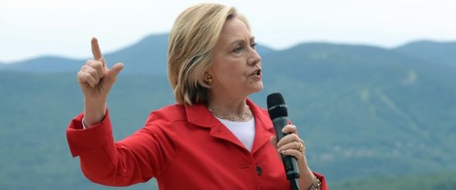 GLEN, NH - JULY 4: Democratic president candidate Hillary Clinton speaks at an organizing event at a private home July 4, 2015 in Glen, New Hampshire. Clinton is on a two day swing through the first in the nation primary state over the fourth of July holiday. (Photo by Darren McCollester/Getty Images)