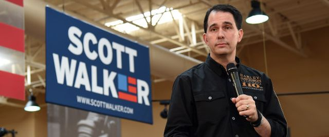 LAS VEGAS, NV - JULY 14:  Wisconsin Gov. Scott Walker speaks at Red Rock Harley-Davidson on July 14, 2015 in Las Vegas, Nevada. Walker launched his campaign on Monday, joining 14 other Republican candidates for the 2016 presidential race.  (Photo by Ethan Miller/Getty Images)