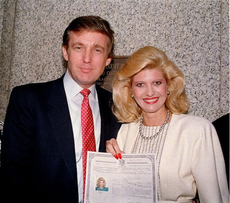 Donald Trump and his wife, Ivana, pose outside the Federal Courthouse after she was sworn in as a United States citizen, May 1988. (AP Photo)