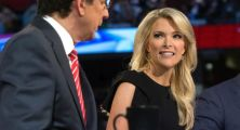 "In this Thursday, Aug. 6, 2015 photo, Fox News moderators Megyn Kelly, right, listens as Chris Wallace, begins introductions during the first Republican presidential debate at the Quicken Loans Arena, in Cleveland. Angry over what he considered unfair treatment at the debate, republican presidential candidate Donald Trump told CNN on Friday night that Kelly had ""blood coming out of her eyes, blood coming out of her wherever."" (AP Photo/John Minchillo)"