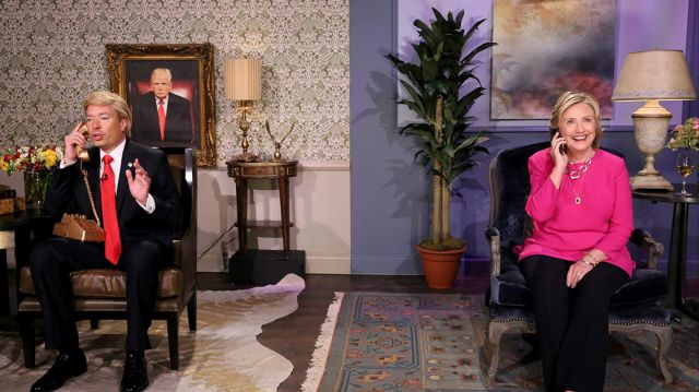 """THE TONIGHT SHOW STARRING JIMMY FALLON -- Episode 0330 -- Pictured: (l-r) Host Jimmy Fallon as Donald Trump and Hillary Rodham Clinton during the """"Trump calls Hillary"""" skit on September 16, 2015 -- (Photo by: Douglas Gorenstein/NBC/NBCU Photo Bank)"""