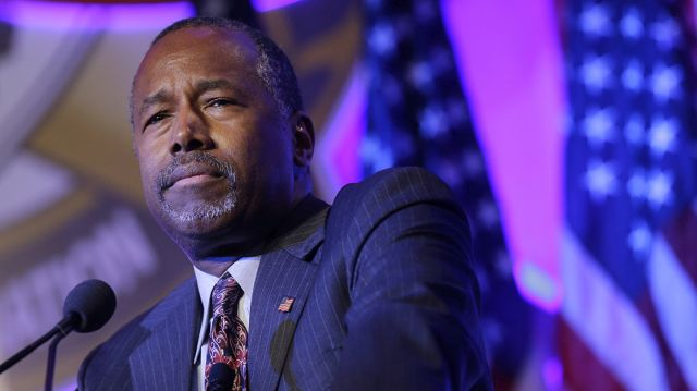 Republican presidential candidate Ben Carson speaks at the National Sheriffs' Association presidential forum, Tuesday, June 30, 2015, in Baltimore. (AP Photo/Patrick Semansky)