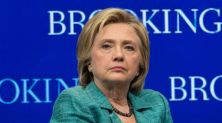 US Democratic presidential candidate Hillary Clinton takes part in a discussion after speaking about the Iran nuclear deal at the Brookings Institution in Washington, DC, on September 9, 2015. Clinton expressed firm support for the nuclear accord with Iran, calling it flawed but still strong. Clinton added that the agreement must be strictly enforced and said that if elected president next year, she would not hesitate to use military force if Iran fails to live up to its word and tries to develop a bomb. AFP PHOTO/NICHOLAS KAMM (Photo credit should read NICHOLAS KAMM/AFP/Getty Images)