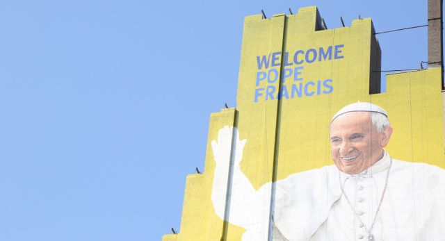 NEW YORK, NY - SEPTEMBER 02: A westside building mural of Pope Francis is almost complete in midtown Manhattan on September 2, 2015 in New York City. (Photo by Walter McBride/Getty Images)