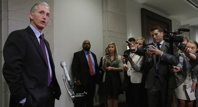 WASHINGTON, DC - JUNE 16: House Select Committee on BenghaziChairman Trey Gowdy (R-SC) speaks to reporters before a closed door meeting in the House Visitors Center at the U.S. Capitol June 16, 2015 in Washington, DC. The committee is expected to question Sidney Blumenthal, a longtime advisor to former President Bill Clinton and former Secretary of State Hillary Clinton, about communication he had with Hillary Clinton around the time of the Sept. 11, 2011 attack in Benghazi, Libya, that killed Ambassador Chris Stevens and three other Americans. (Photo by Chip Somodevilla/Getty Images)