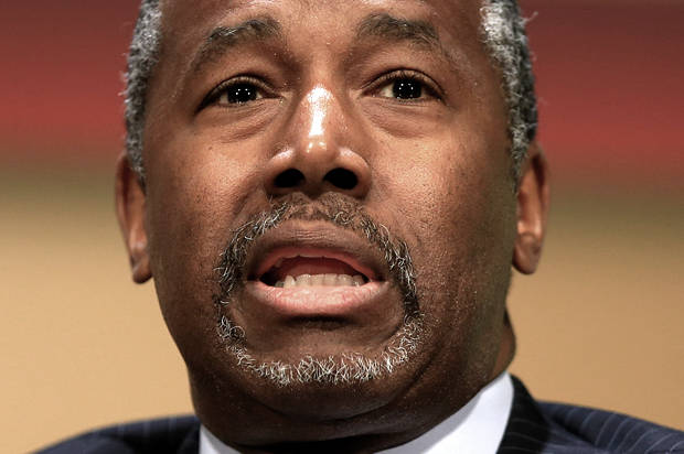 Republican presidential candidate, retired neurosurgeon Ben Carson, speaks at the Family Leadership Summit in Ames, Iowa, Saturday, July 18, 2015. (AP Photo/Nati Harnik)