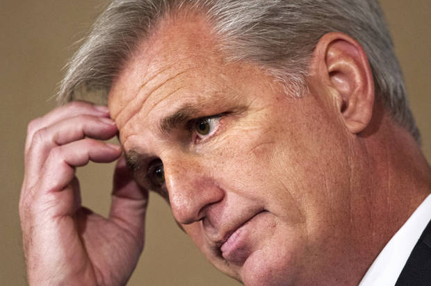 House Majority Leader Kevin McCarthy of Calif., pauses as he speaks about foreign policy during the John Hay Initiative, Monday, Sept. 28,2015, at a hotel in Washington. (AP Photo/Jacquelyn Martin)