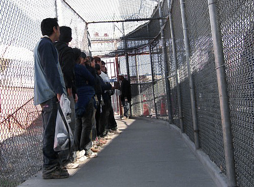 Illegal immigrants from Mexico wait in a holding area in El Paso, Texas, Thursday, May 1, 2008. U.S. Border Patrol agents have discretion to send illegal immigrants home instead of throwing them in jail. In some cases, they do it over and over and over. (AP Photo/Alicia Caldwell)