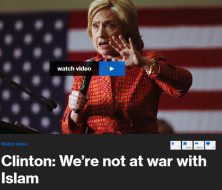 "At a campaign event on Monday evening, Hillary Clinton discussed the war on ISIS, calling terrorists ""thugs"" and ""criminals,"" and stressed that it's not smart ""to act like we're waging war on every Muslim in the world."""